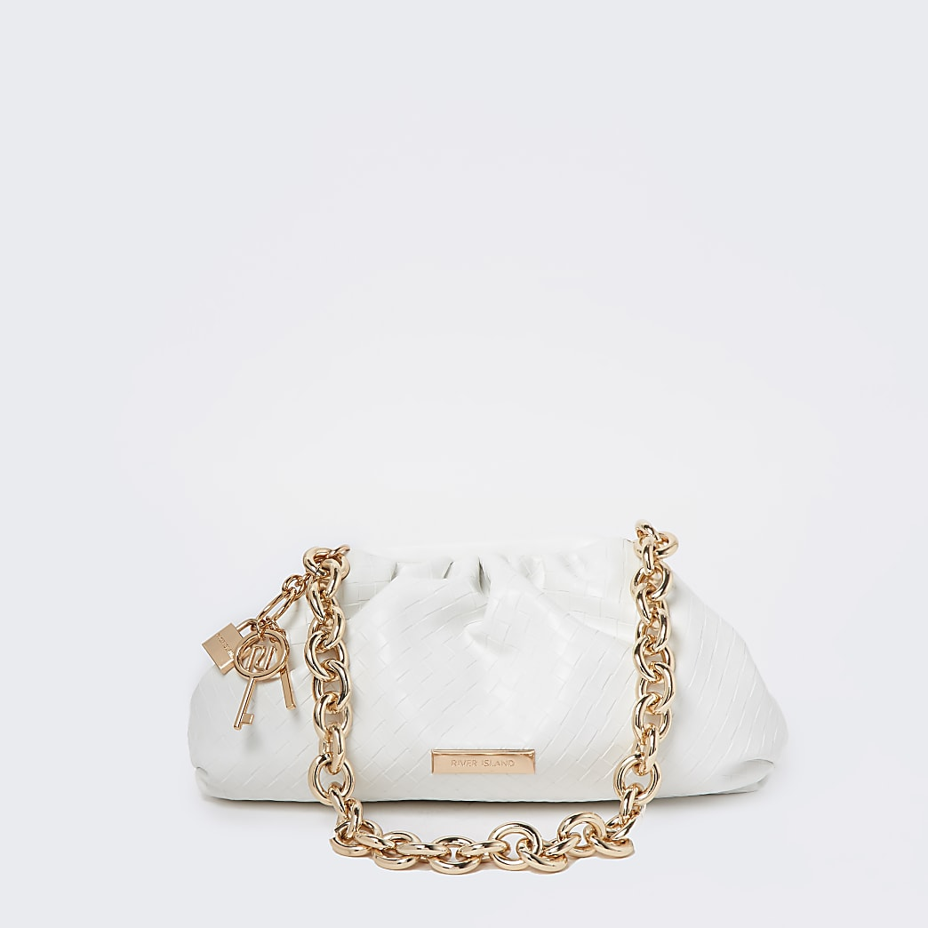 White weave chunky chain ruched bag