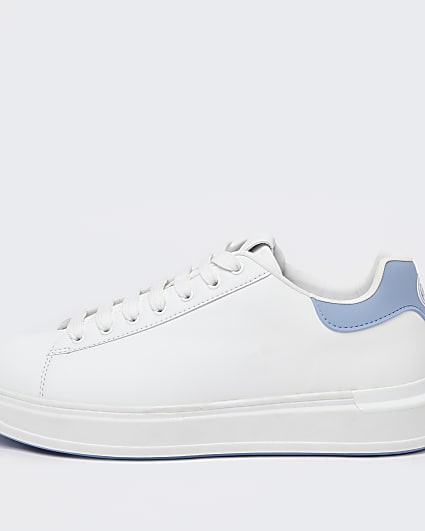 White wedge lace up trainers