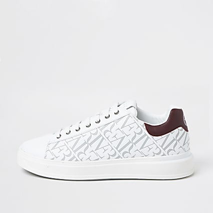 White wedge monogram trainers