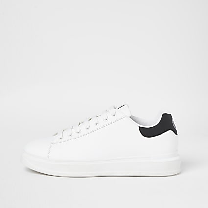 White wedge white back tab trainers