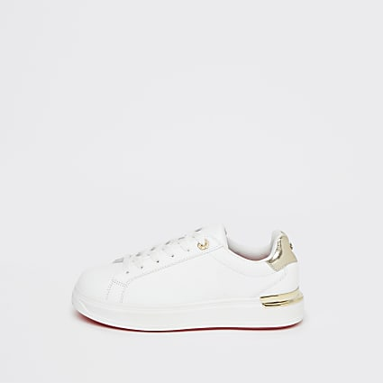 White wide fit chunky flat lace up trainers