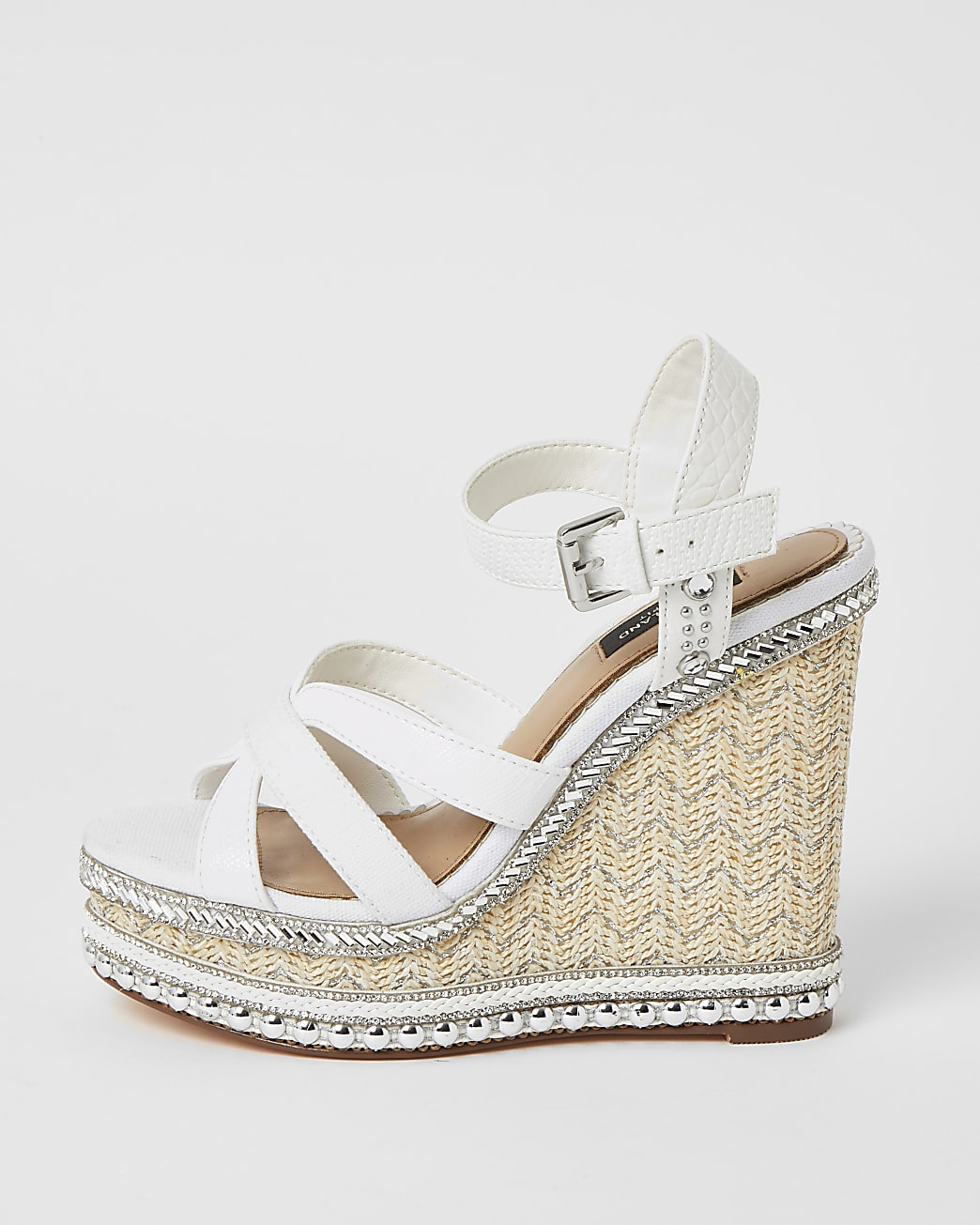 White wide fit embellish strappy wedge sandal