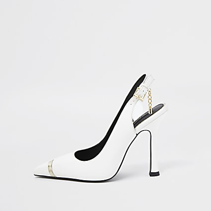 White wide fit gold chain mesh court heels
