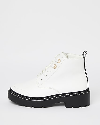 White wide fit lace up ankle boots