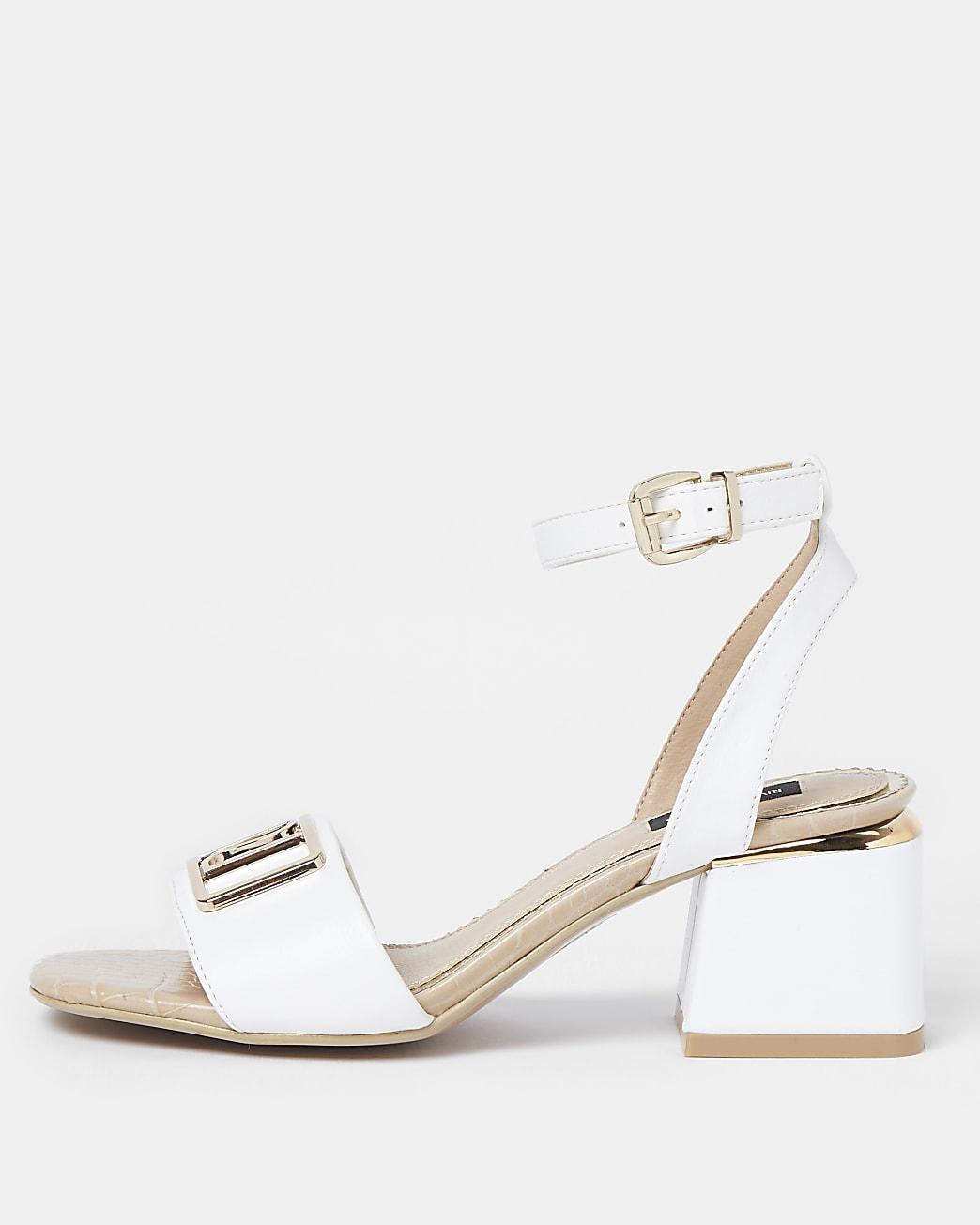 White wide fit RI ankle strap low heel sandal