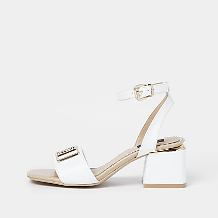 White wide fit RI ankle strap low heel sandal