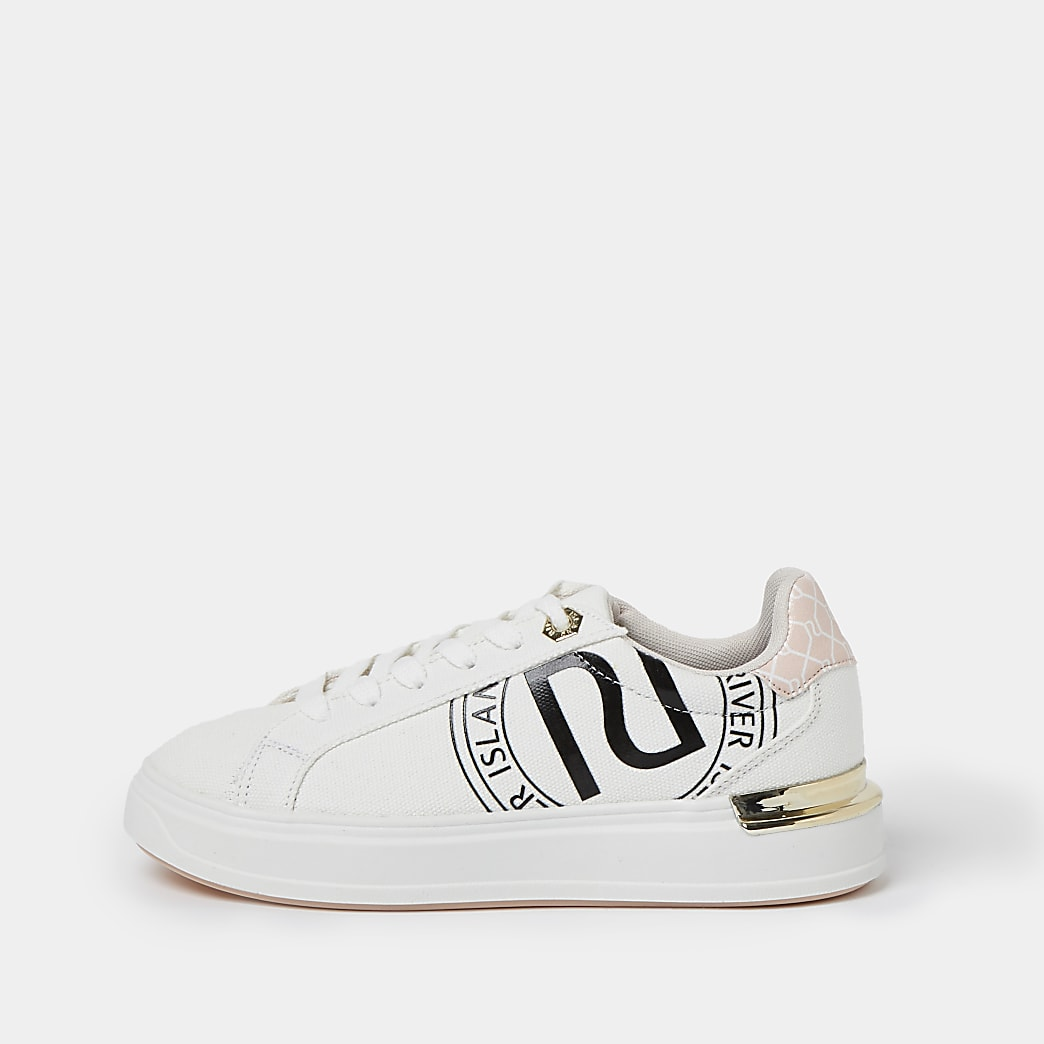 White wide fit RI lace up trainers
