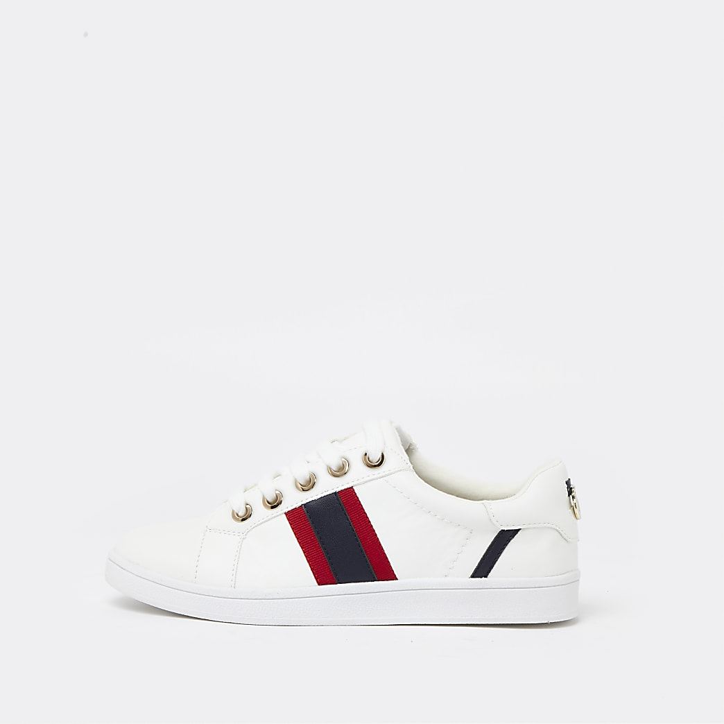 White wide fit side stripe lace up trainers