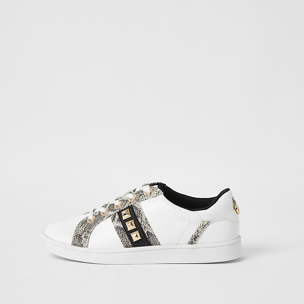 White wide fit snake print jewelled trainers