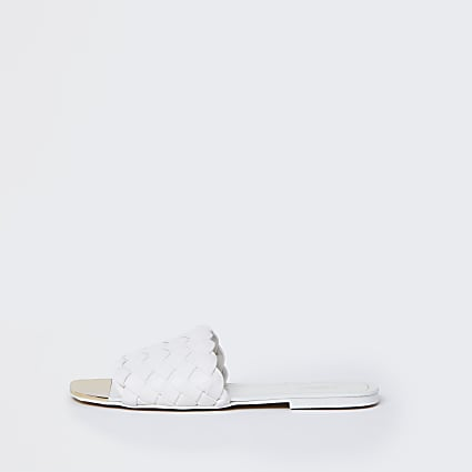 White wide fit woven flat sandals