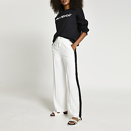 White wide leg stripe trouser