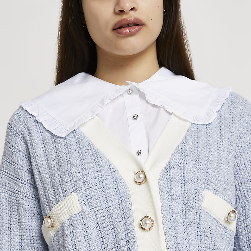 White wide ruffle collar bib