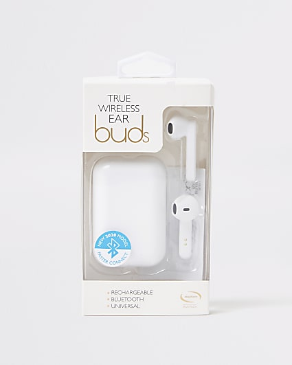 White wireless new edition earbuds