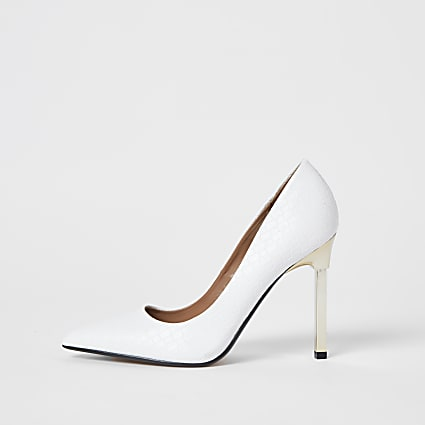 White woven embossed court heels
