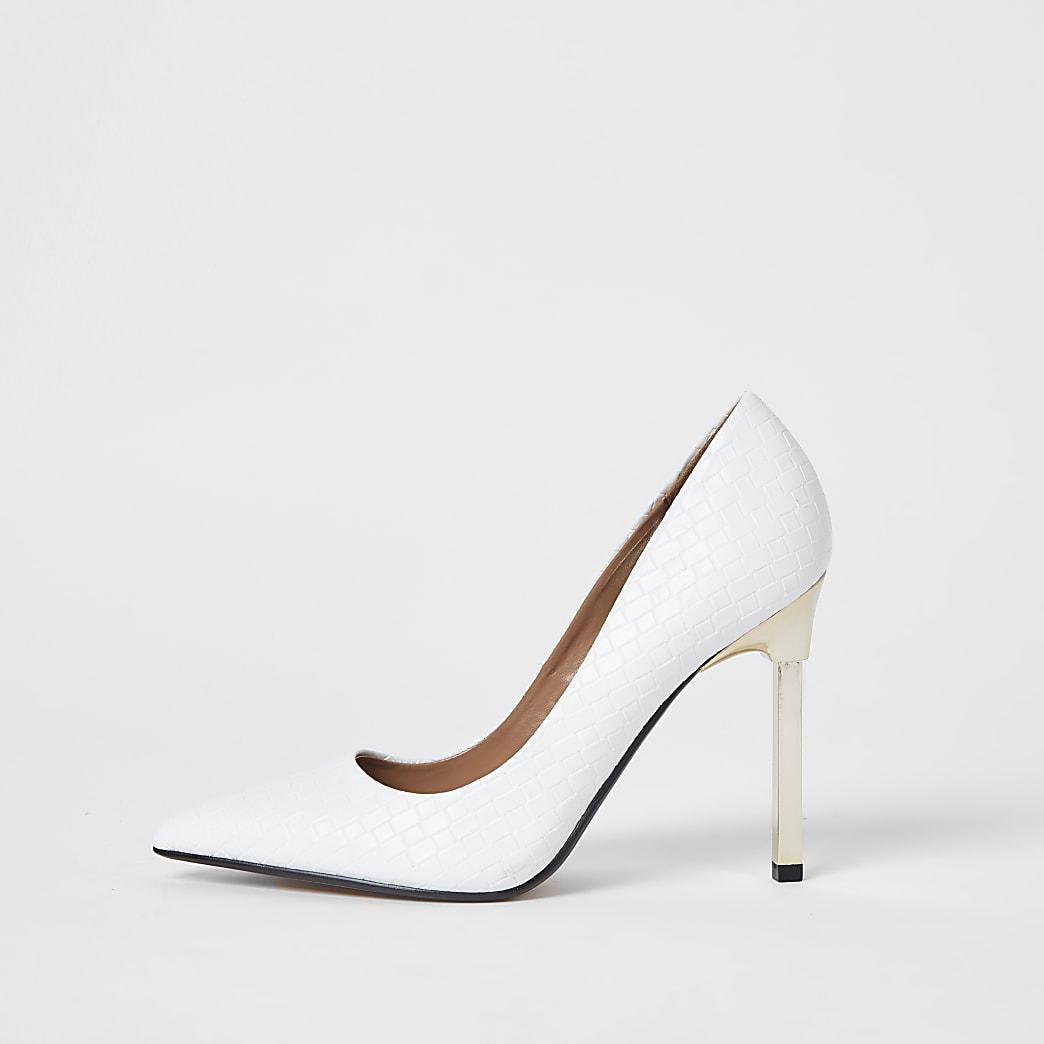 White woven embossed court heels