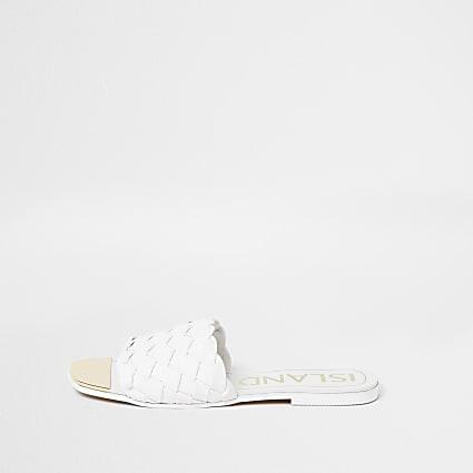 White woven flat sandal