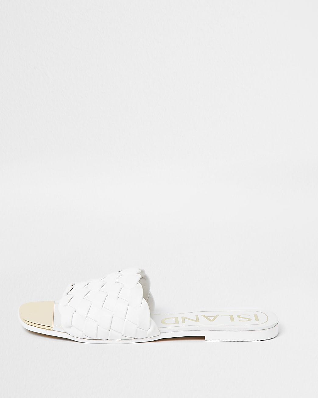 White woven flat sandals