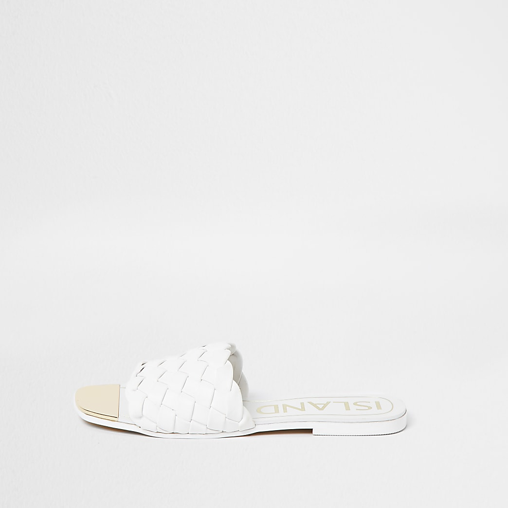 White woven flat sandals