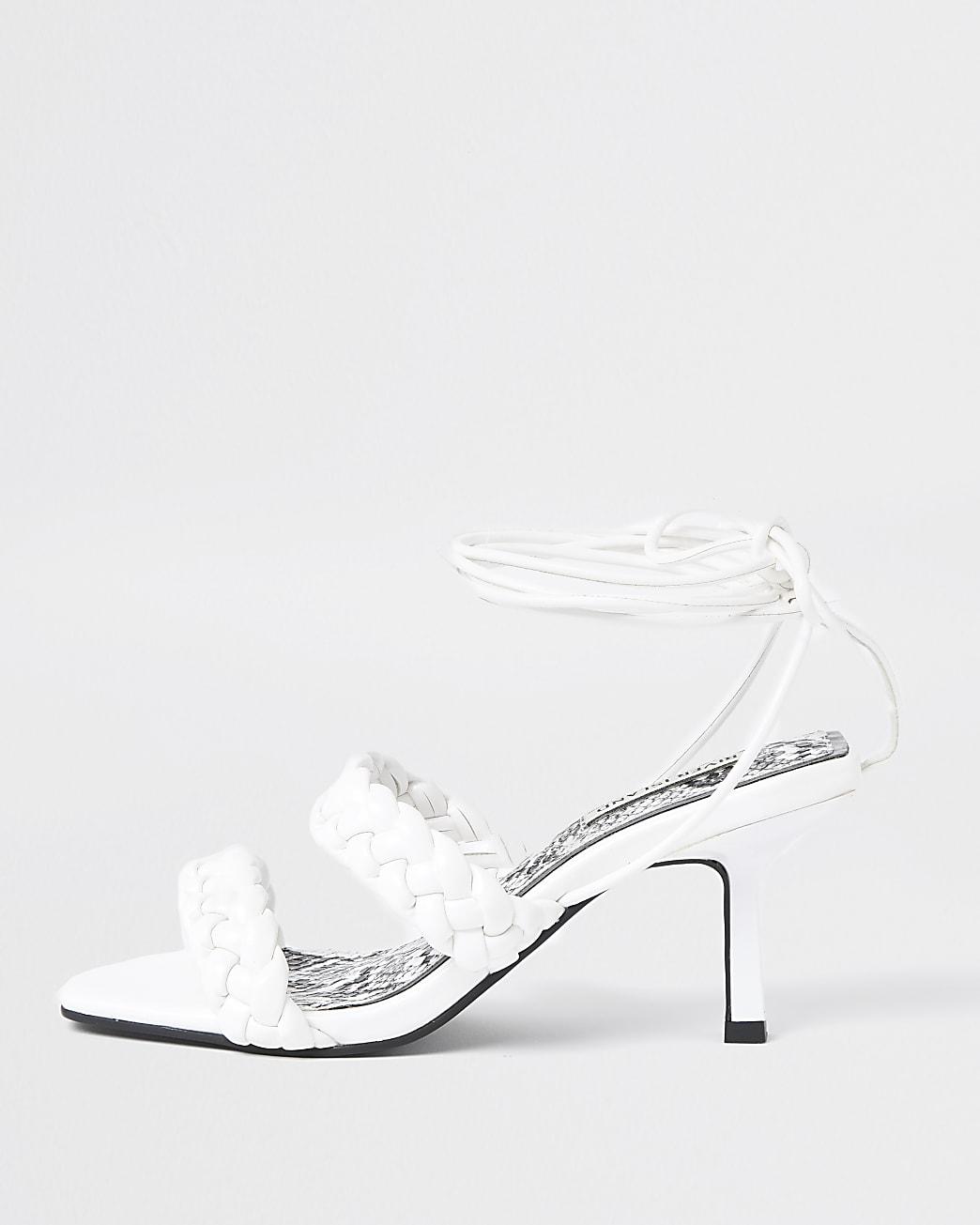 White woven weave kitten heel sandal