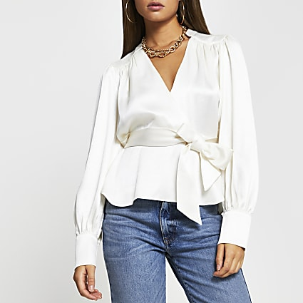 White wrap long sleeve blouse top