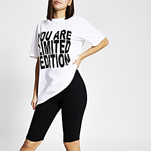 Wit unisex T-shirt met 'You are limited edition'-print