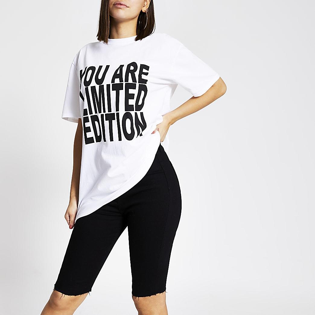 Wit unisex T-shirt met 'Youare limitededition'-print