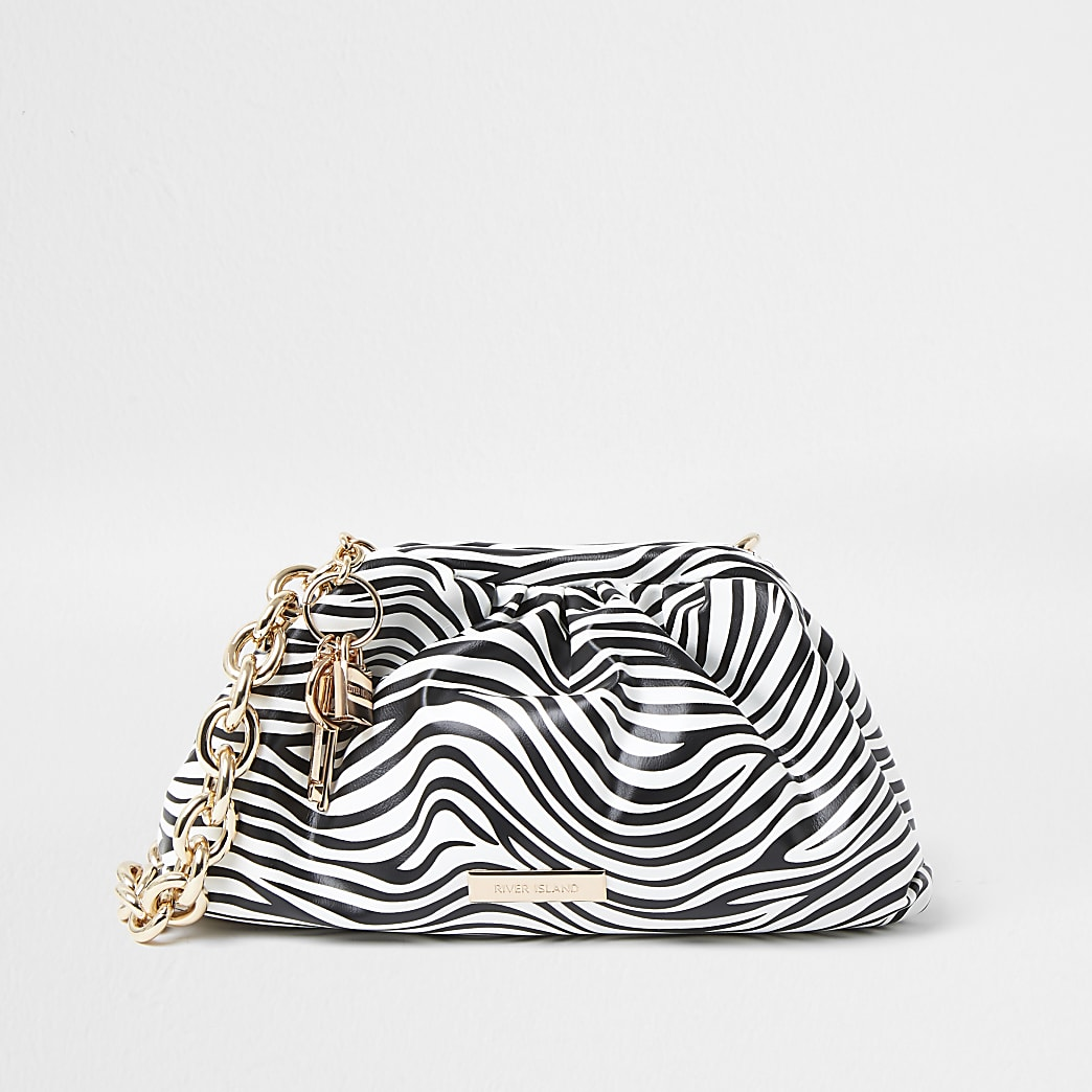 White zebra print chunky chain ruched bag