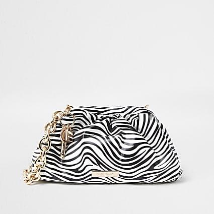 White zebra print chunky chain ruched handbag