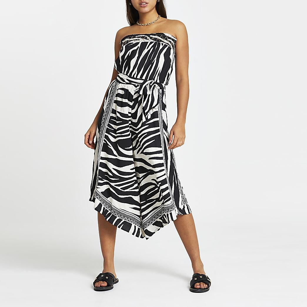 White zebra print culotte beach jumpsuit