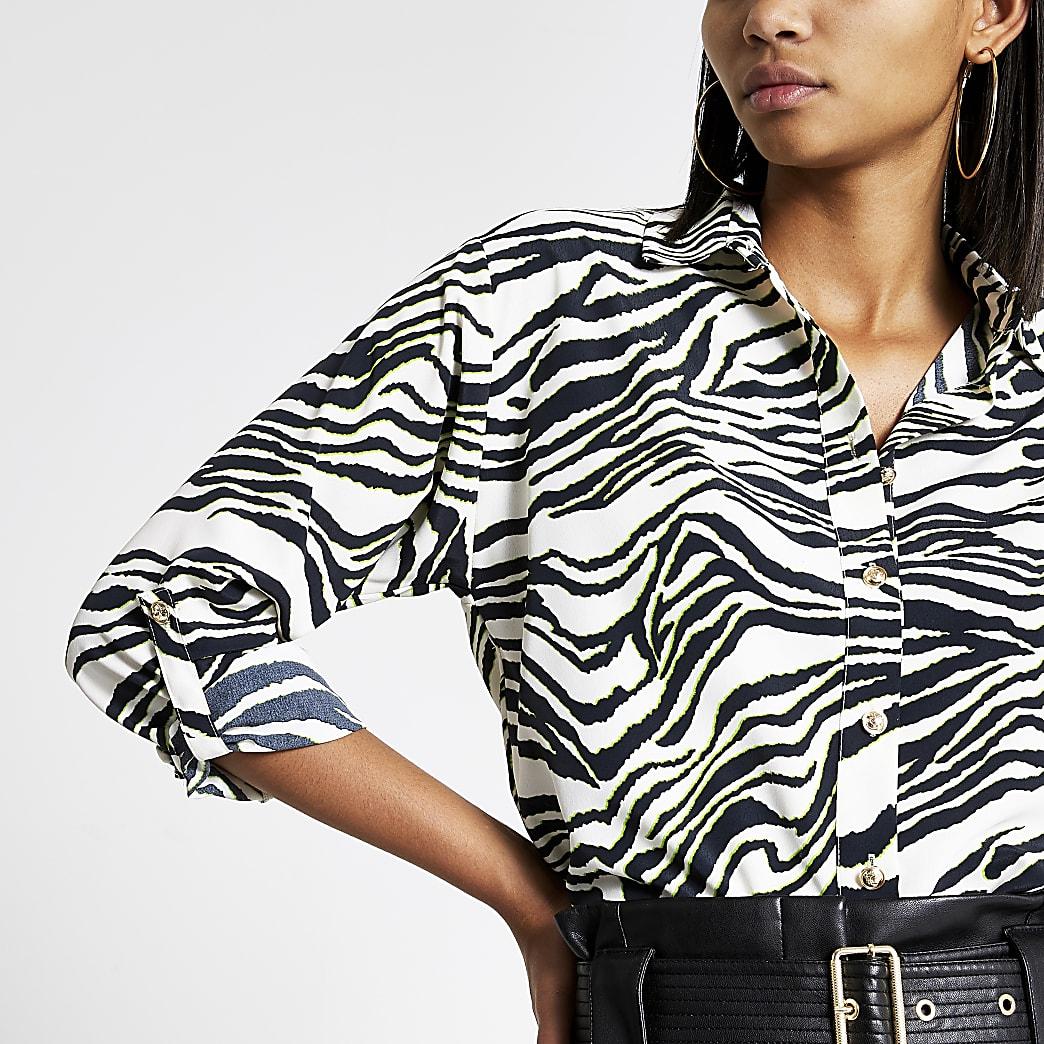 White zebra print long sleeve utility shirt