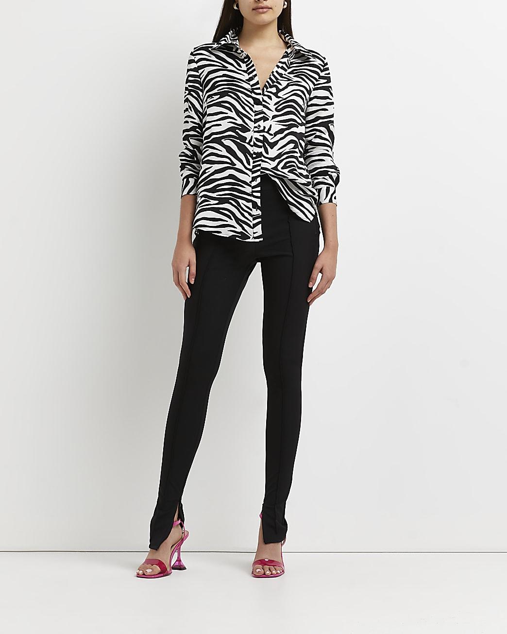 White zebra print shirt