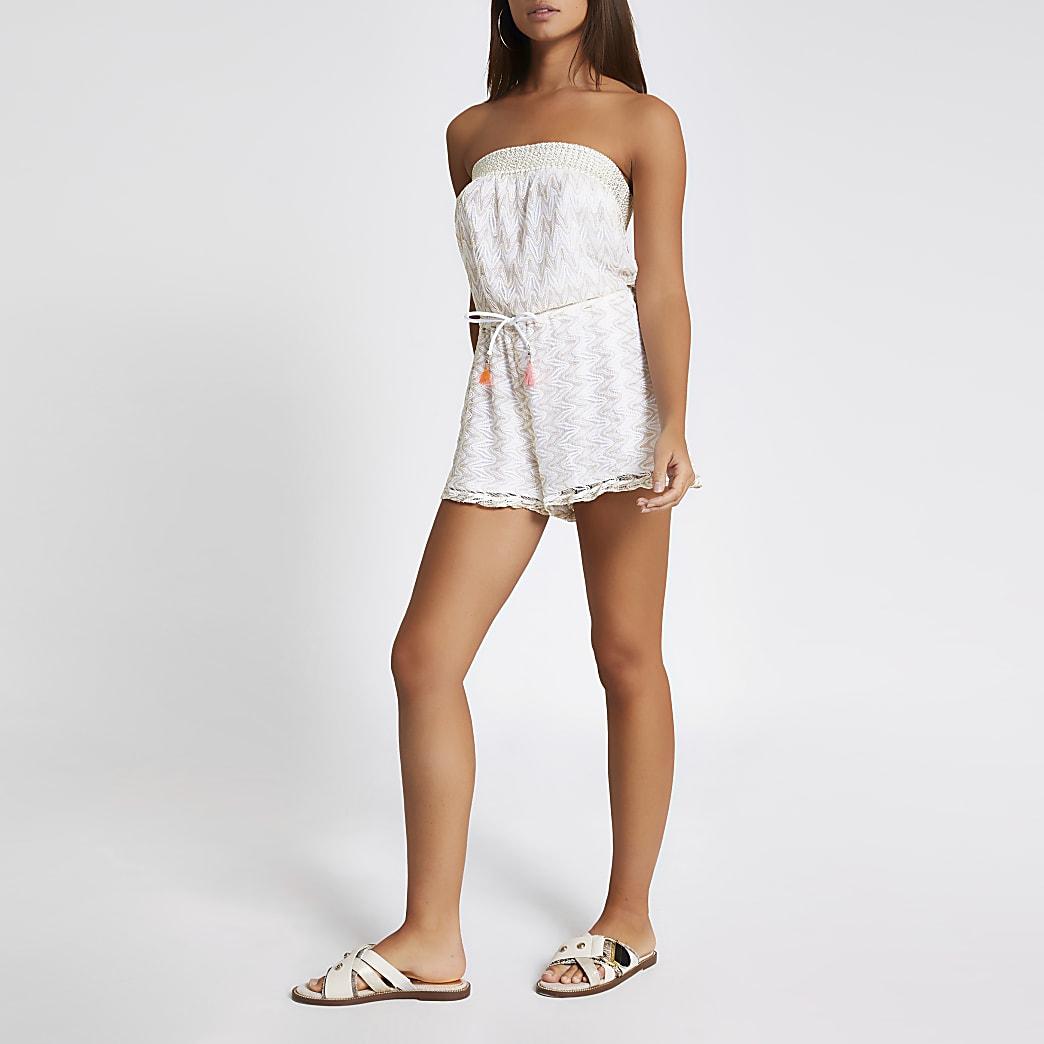 Combi-short bandeau de plage blanc en maille zig-zag