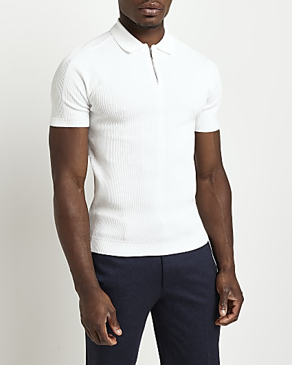 White zip front short sleeve polo shirt