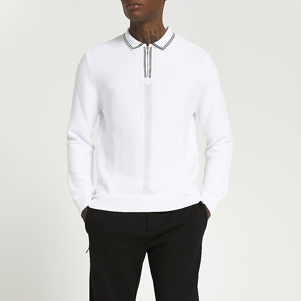White zip slim fit long sleeve polo shirt