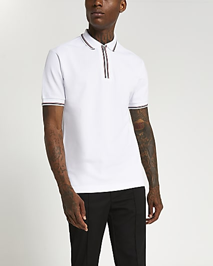 White zip slim fit short sleeve polo shirt