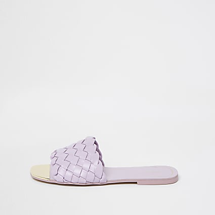 Wide fit purple vamp flat sandals