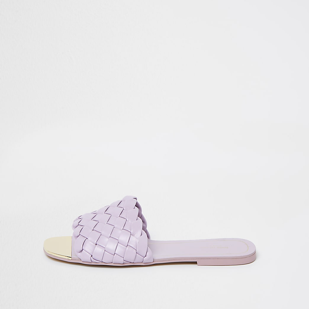 Wide fit purple vamp flat sandals