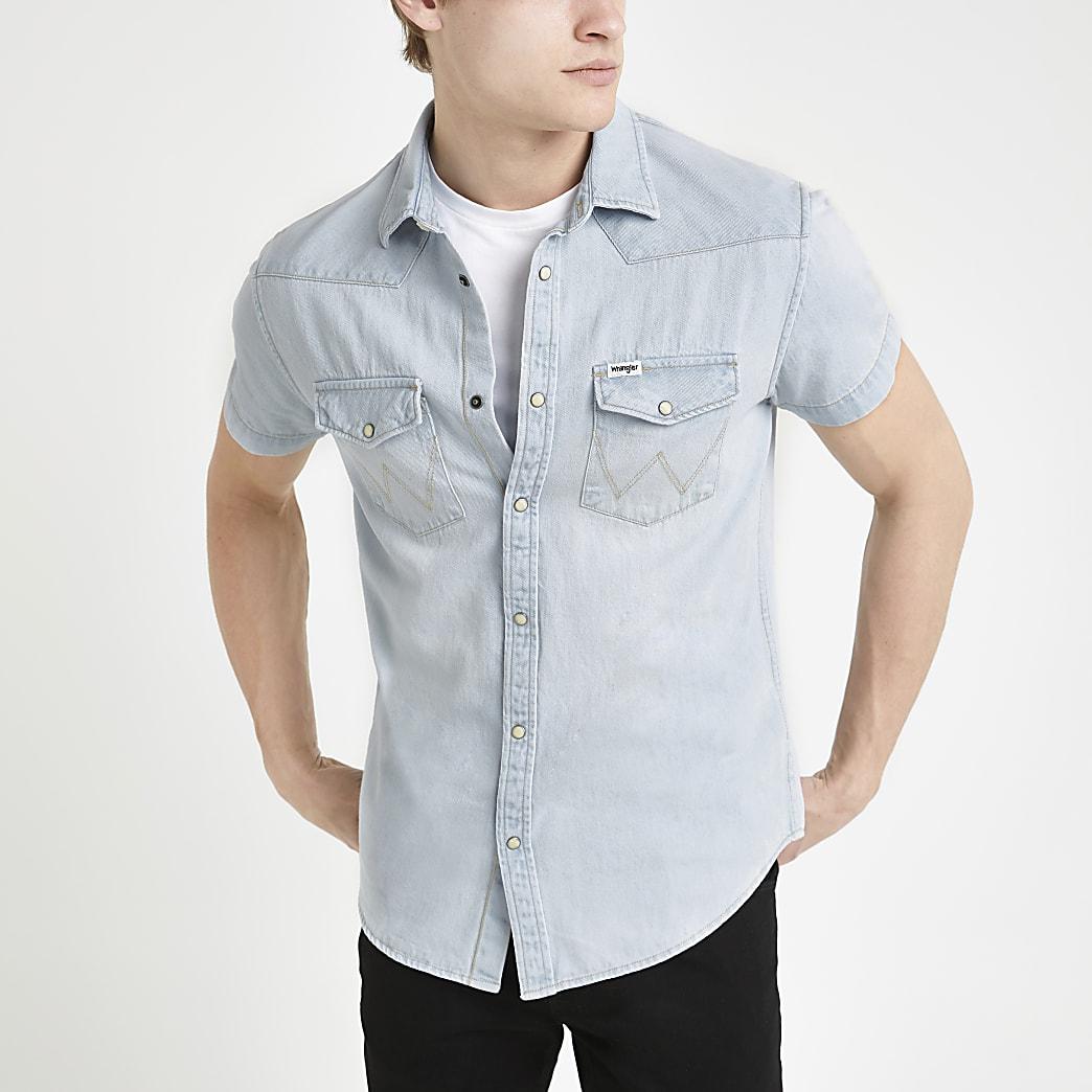 Wrangler - Denim overhemd met normale pasvorm en korte mouwen