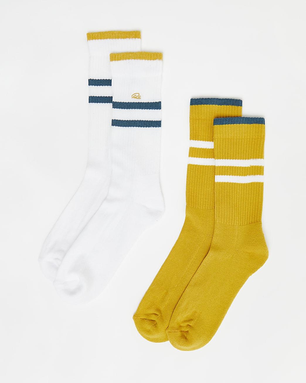 Yellow & white stripe RI branded socks 2 pack
