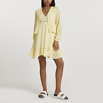 Yellow 2 In 1 mini dress