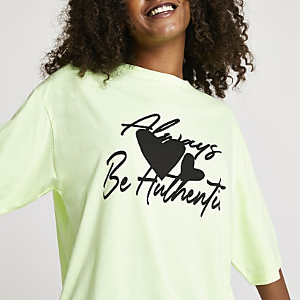 Yellow Always be Authentic oversized t-shirt