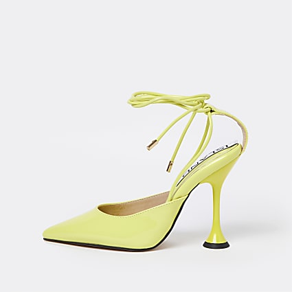Yellow ankle tie court shoes