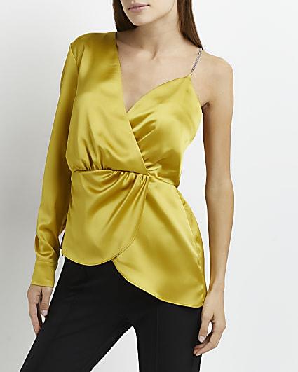 Yellow asymmetric satin top