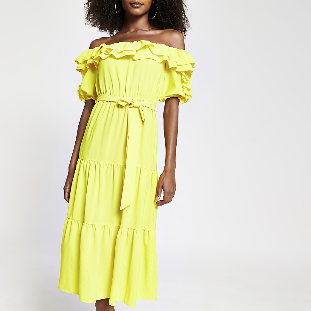 Yellow bardot frill midi dress