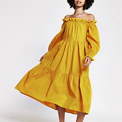 Yellow bardot maxi puff dress