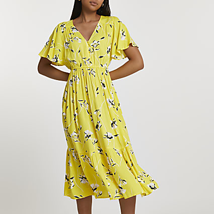 Yellow batwing sleeve floral smock midi dress