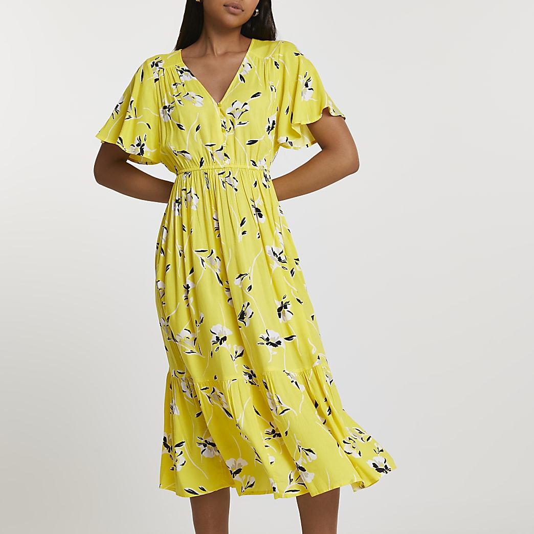 Yellow batwing sleeve floral smock midi dress