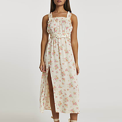 Yellow belted floral midi beach dress