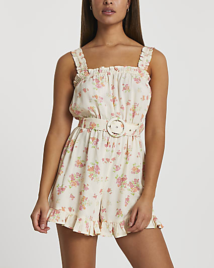 Yellow belted frill beach playsuit
