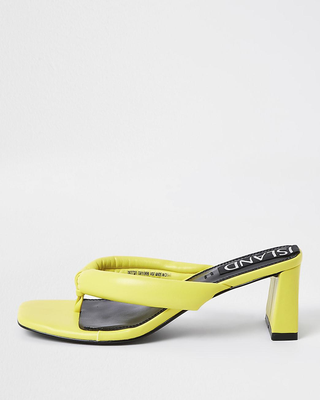 Yellow block heel sandals